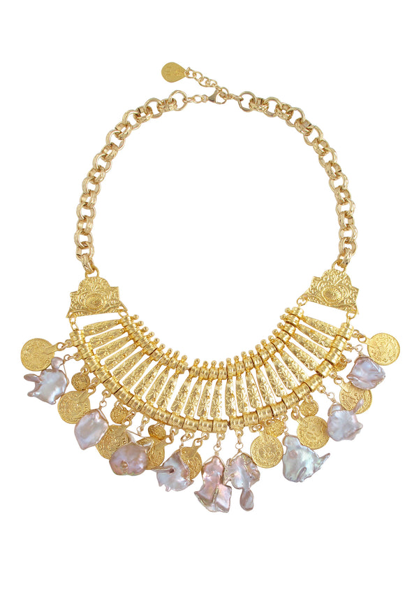 Pink Pearl Gold Coin Bib Necklace