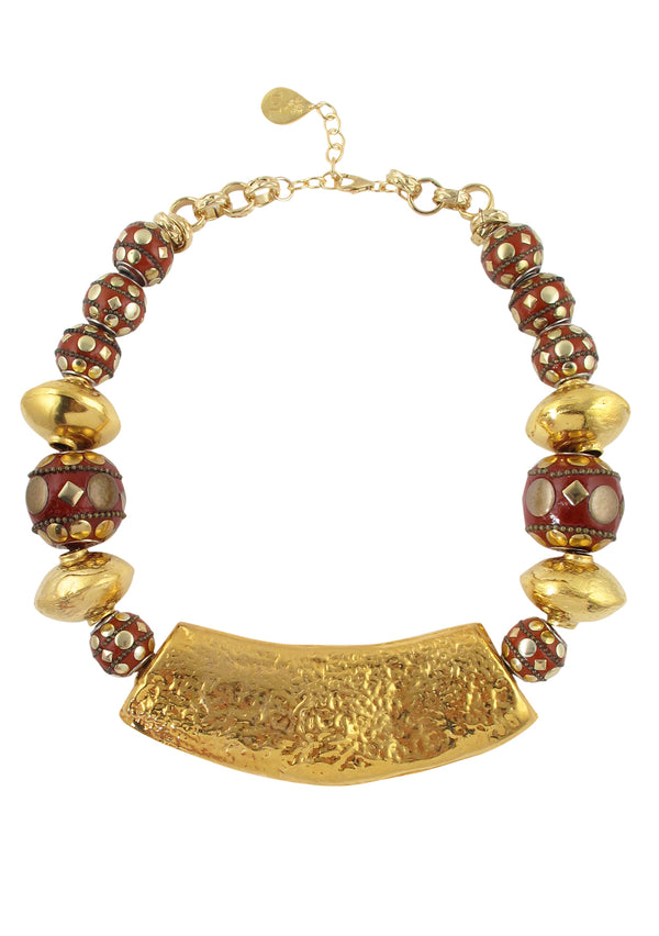 Red and Gold Hammered Pendant Necklace
