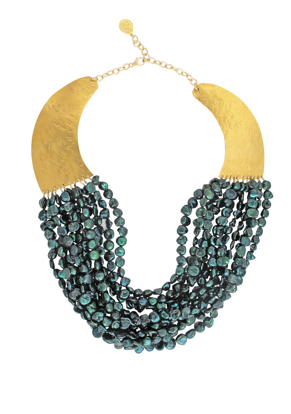 Multi Strand Teal Freshwater Pearl Gold Bib Necklace