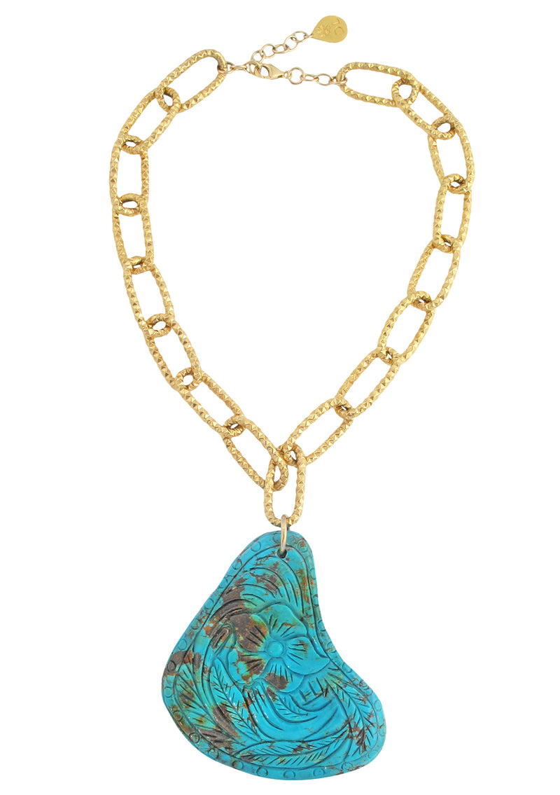 One of a Kind Carved Turquoise Pendant Necklace