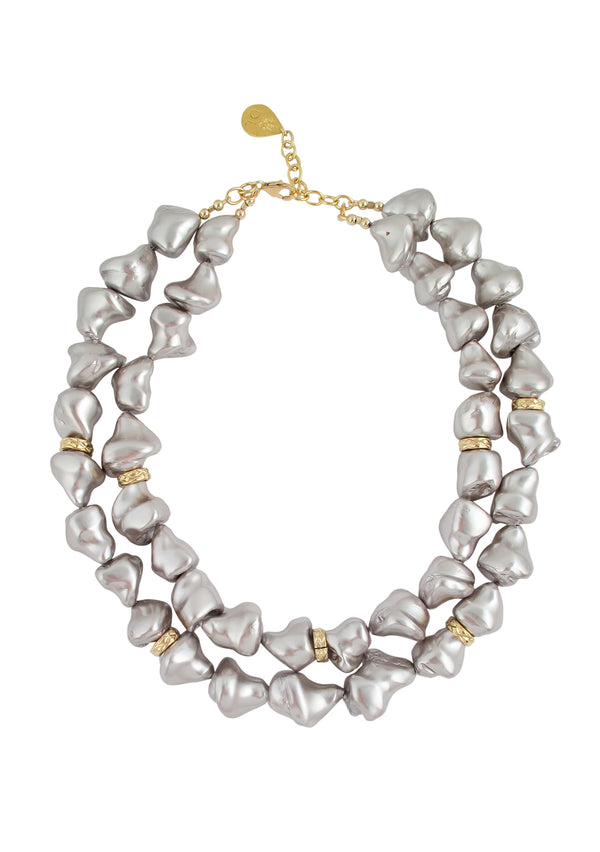 Gray Shell Pearl Double Strand Necklace