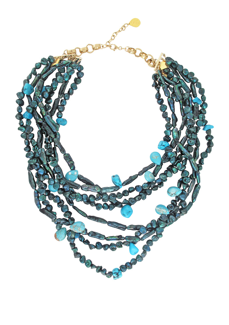 Multi Strand Teal Freshwater Pearl and Turquoise Necklace