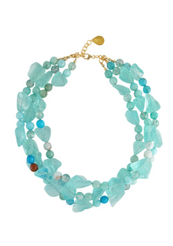 Raw Blue Quartz Amazonite Multi-Strand Necklace