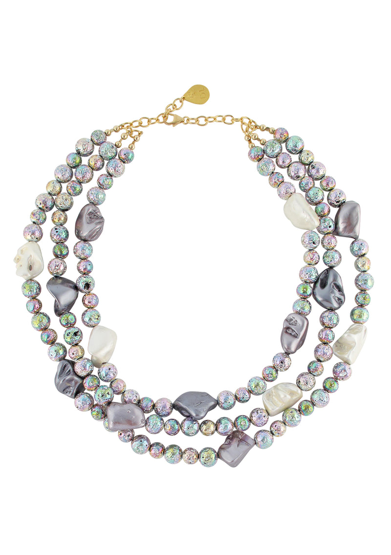 Rainbow Lava Shell Pearl Multi Strand Necklace