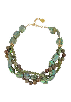 Peridot Green Garnet Green Pearl Necklace