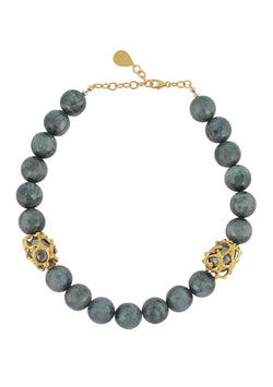 Eagle's Eye Caged Black Pearl Shell Necklace
