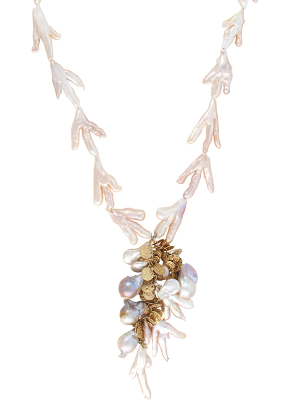 Pink Freshwater Pearl Branch Cluster Necklace