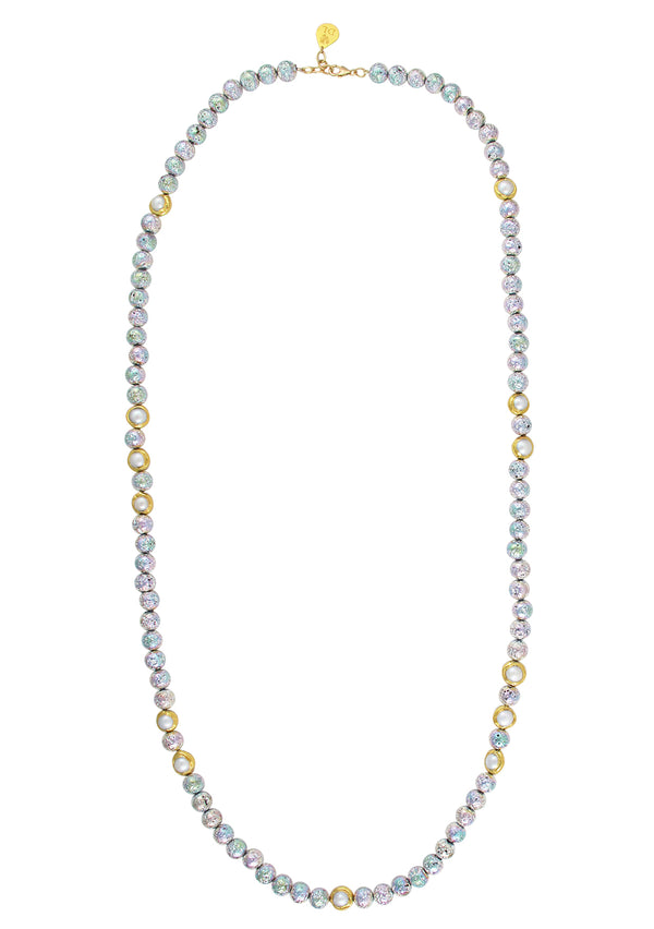 Rainbow Lava Pearl and Gold Accent Necklace