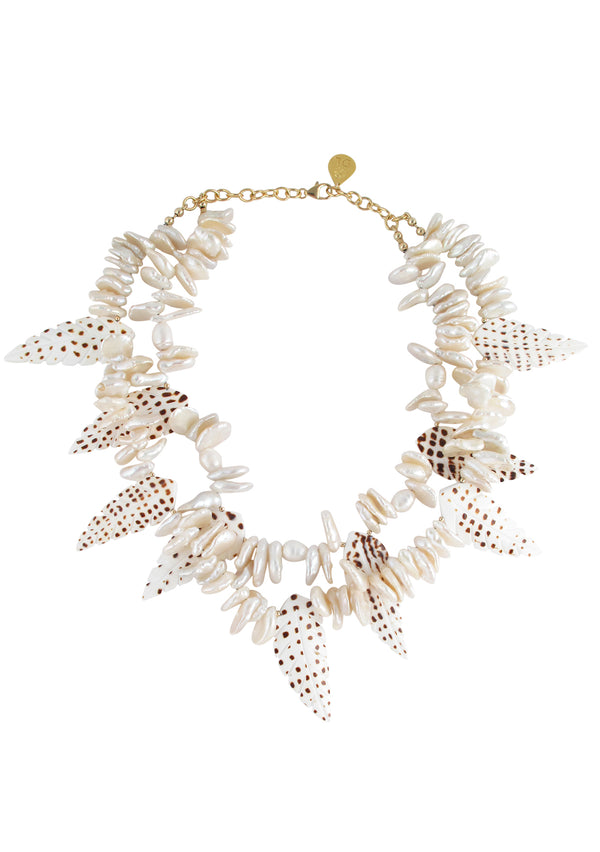 Freshwater Pearl Speckled Shell Necklace