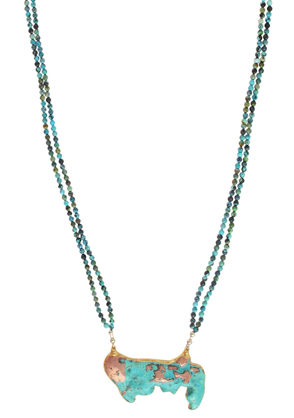 Turquoise Chrysocolla in Gold Foil Pendant Necklace