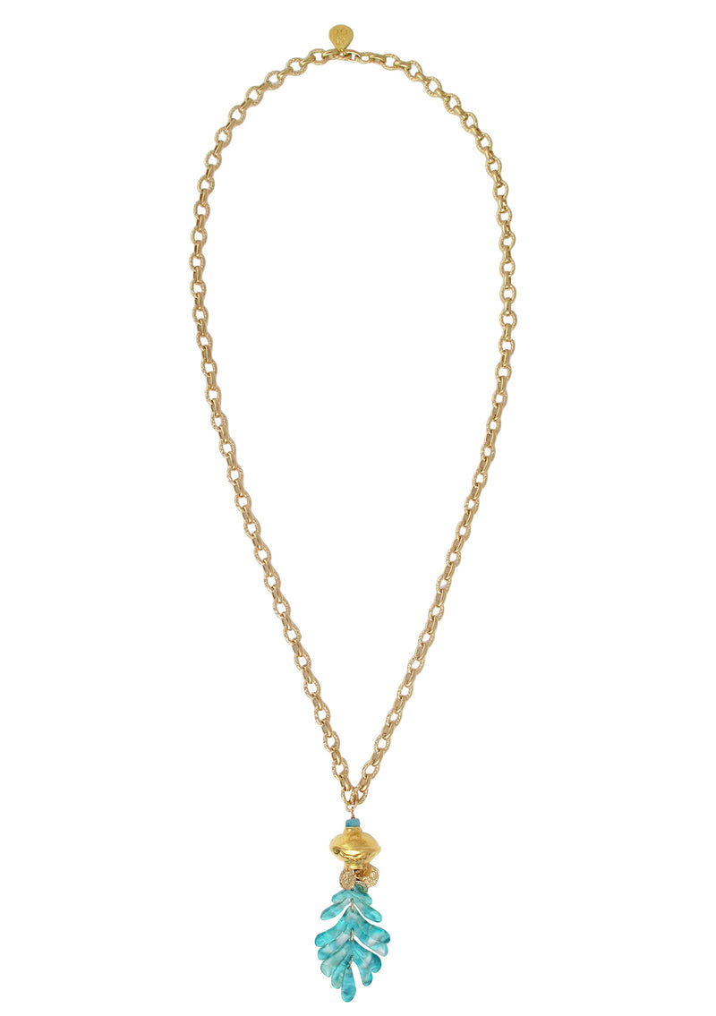Long Gold Accent Aqua Leaf Pendant Necklace