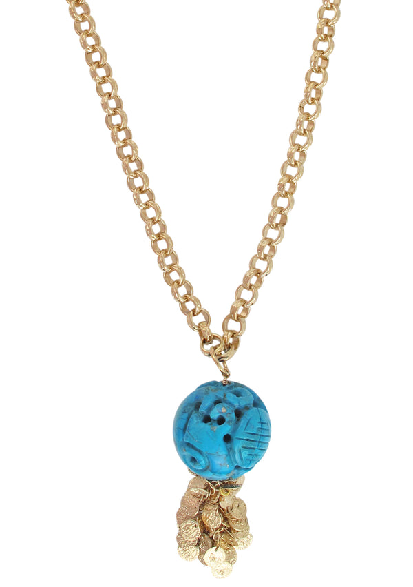 Carved Turquoise Ball Pendant Gold Necklace