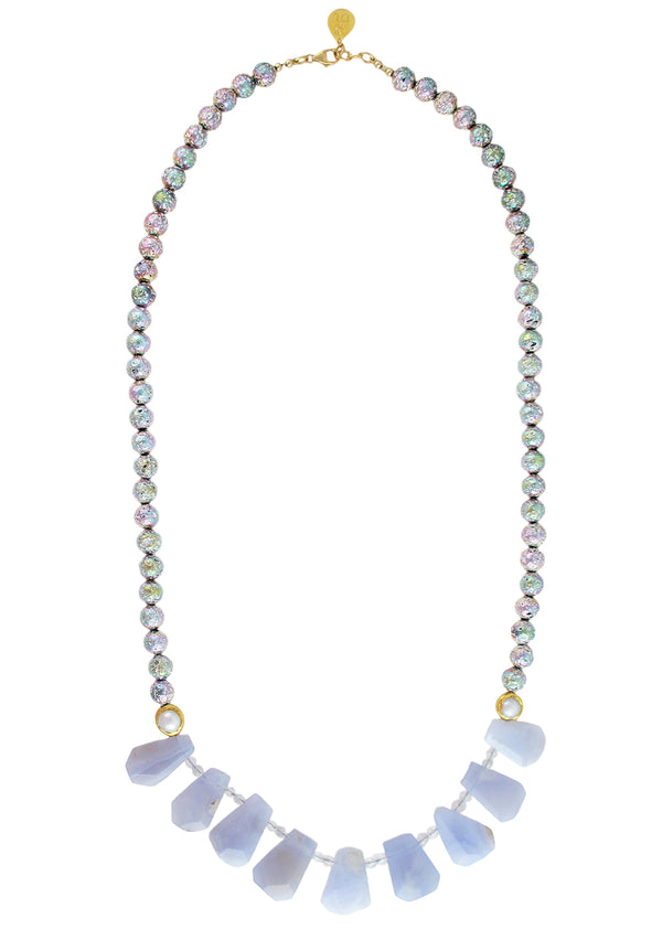Lavender Chalcedony Rainbow Coated Lava Necklace