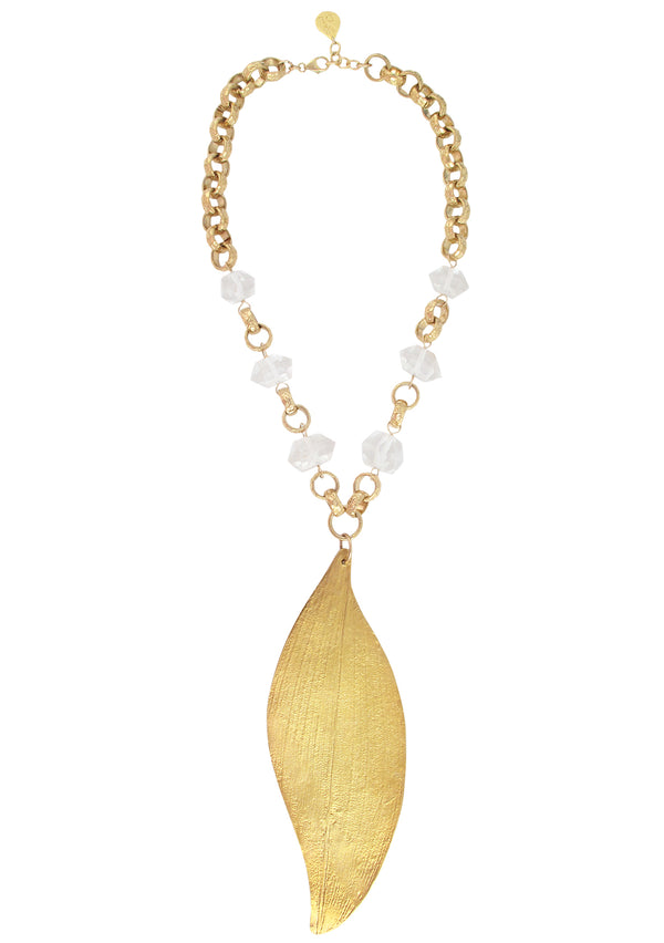 Clear Quartz Large Gold Leaf Pendant Necklace