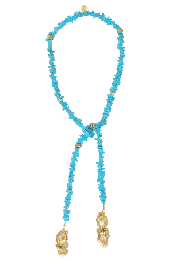 Turquoise Slab Caged Pearl Lariat Necklace