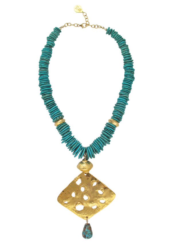 Chrysocolla Slab Gold Pendant Necklace