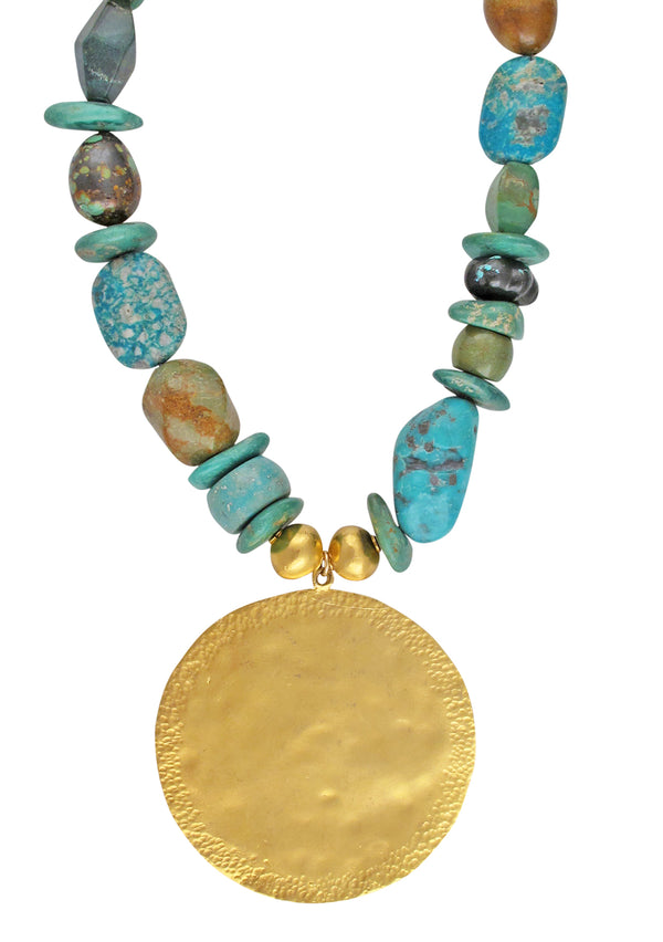 One of a Kind Turquoise Chrysocolla Gold Medallion Necklace