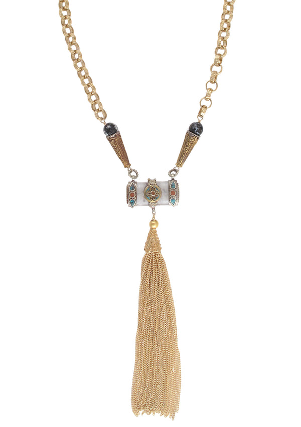 Long Ethnic Pendant Gold Tassel Necklace