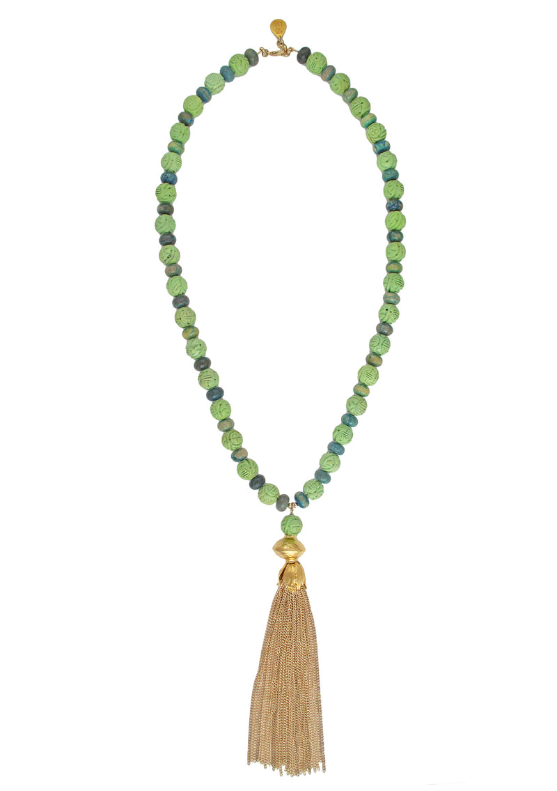 Carved Turquoise Chrysocolla Gold Tassel Necklace