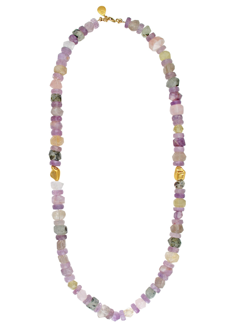 Multi Stone Pastel Gold Accent Necklace