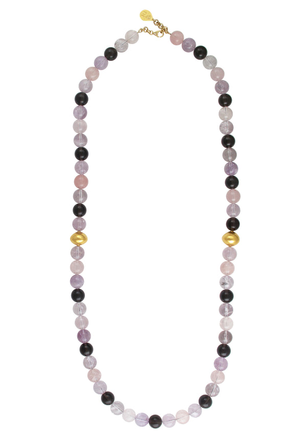 Rose Quartz Smoky Quartz Gold Accent Necklace