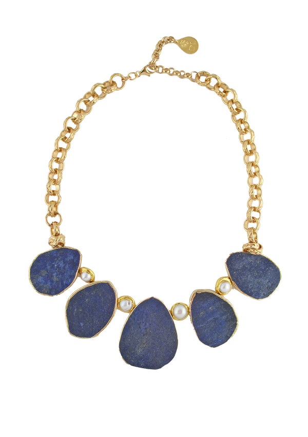 Lapis and Pearl in Gold Necklace