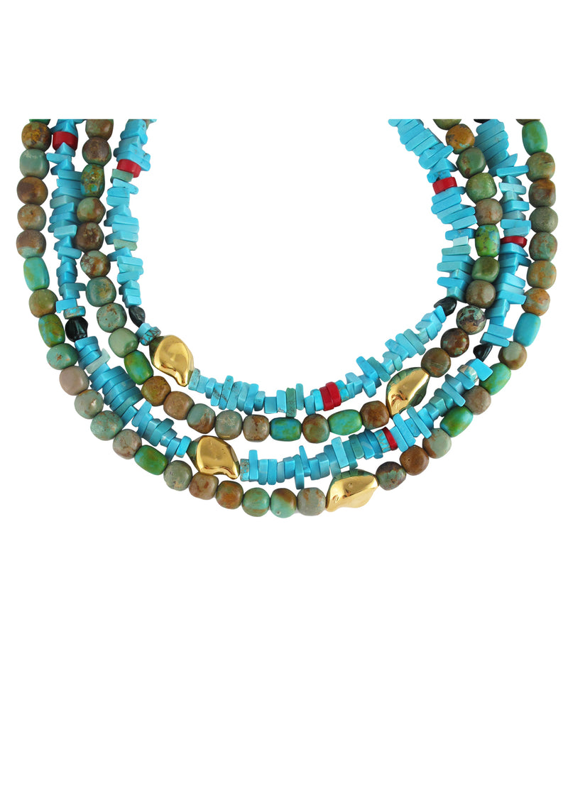 Natural Turquoise Gold Accent Necklace
