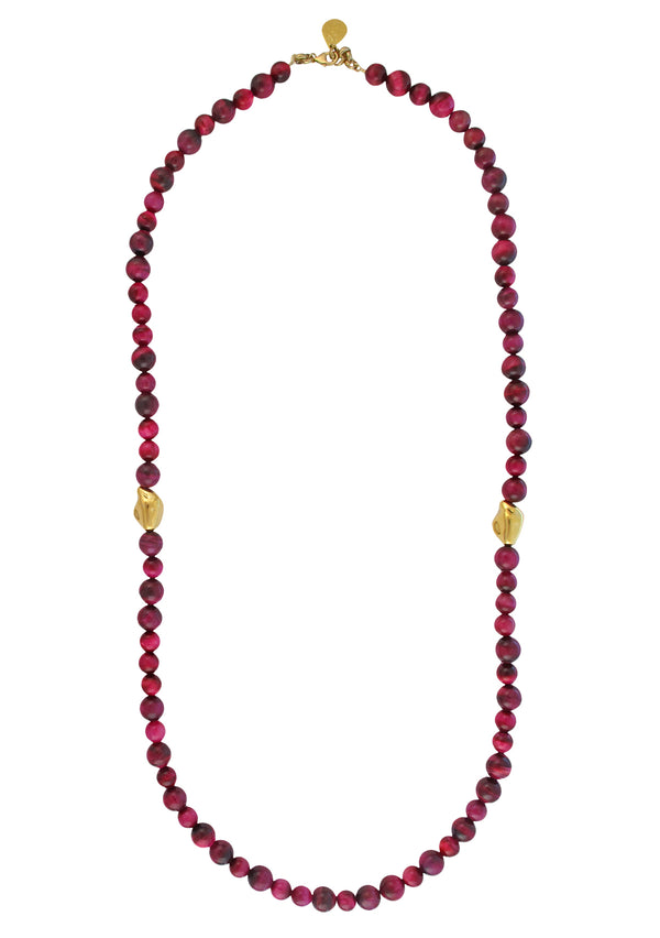 Pink Tiger's Eye Gold Accent Necklace