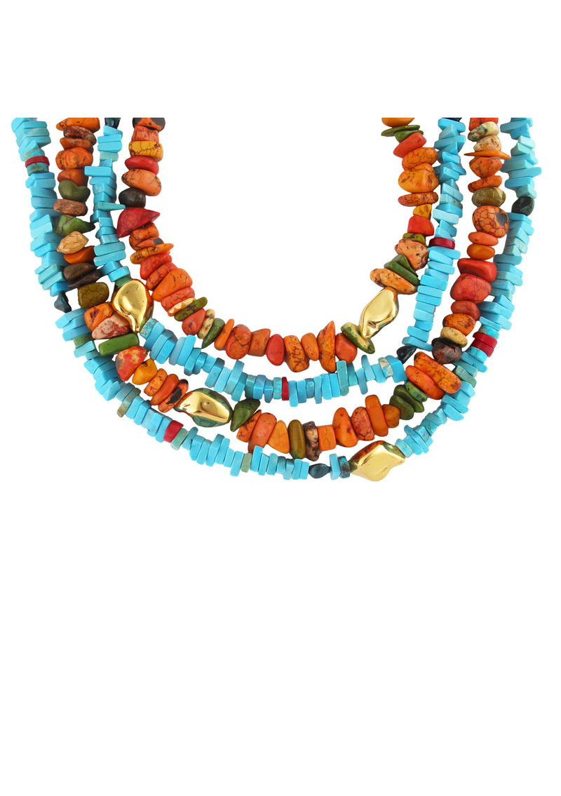 Blue Turquoise Red Coral Gold Accent Necklace