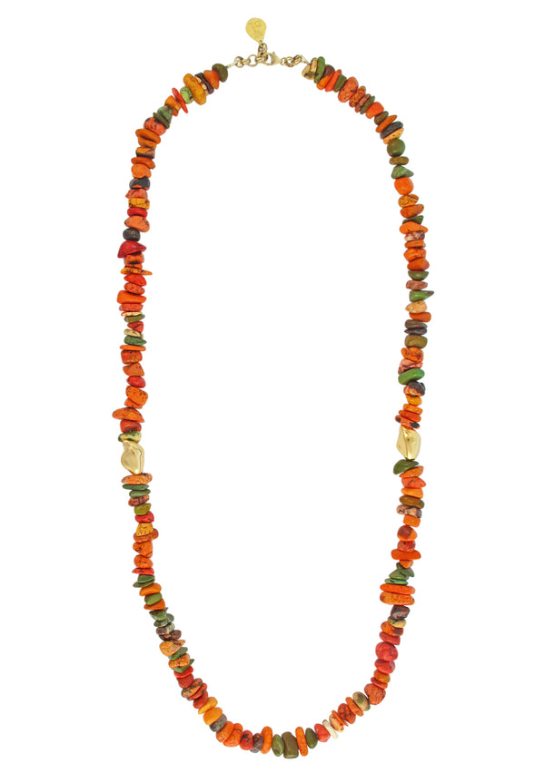 Multicolor Agate Gold Accent Necklace