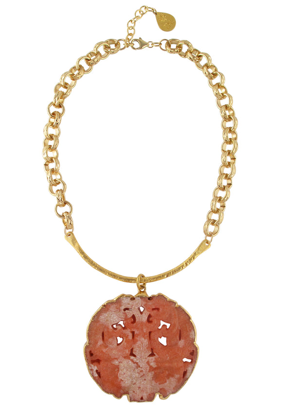 Pink Jade in Gold Foil Pendant Necklace