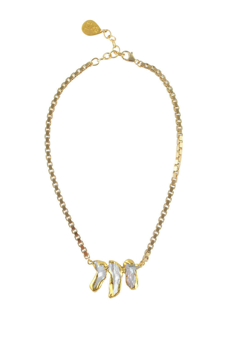 Triple Pearl Gold Pendant Necklace