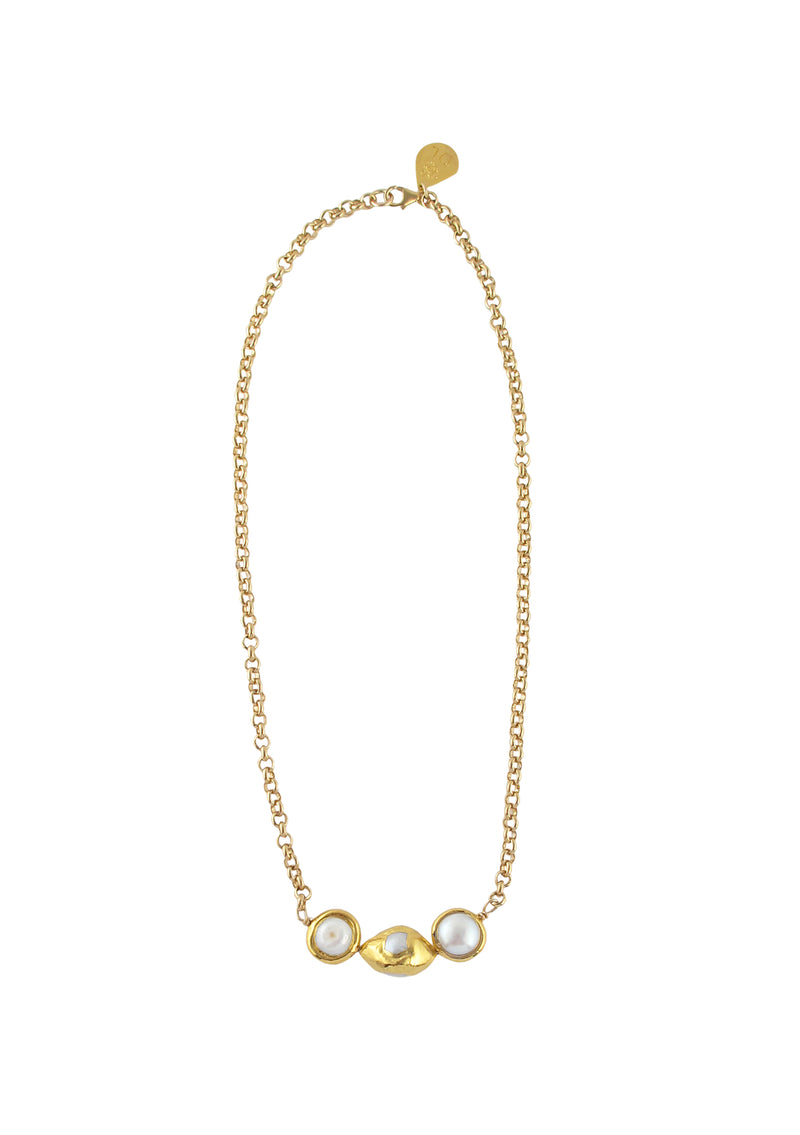 Freshwater Pearl Gold Bezel Accent Necklace