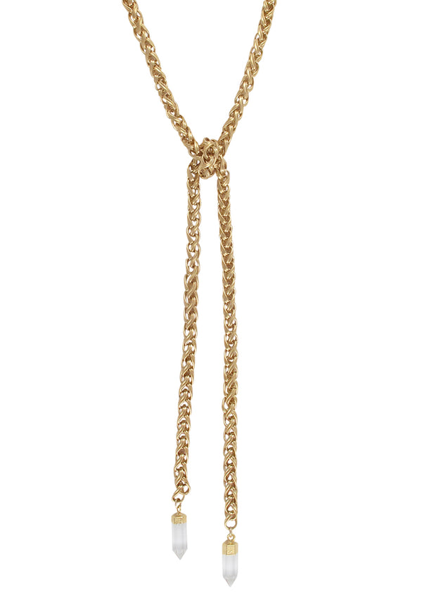 Clear Quartz in Gold Foil Lariat Necklace
