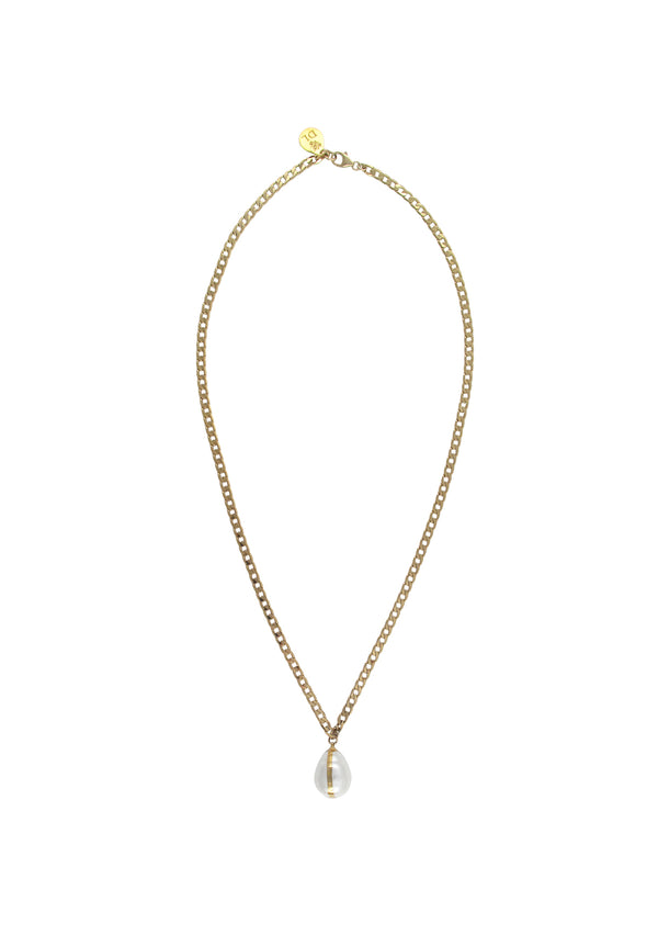 Pearl Drop in Gold Foil Pendant Necklace