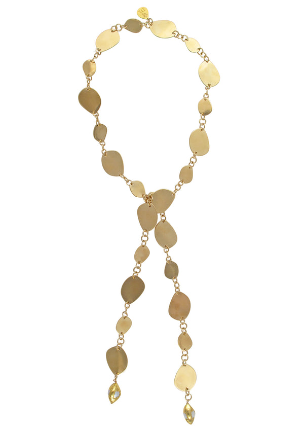 Flat Gold Leaf Pearl Accent Lariat Necklace
