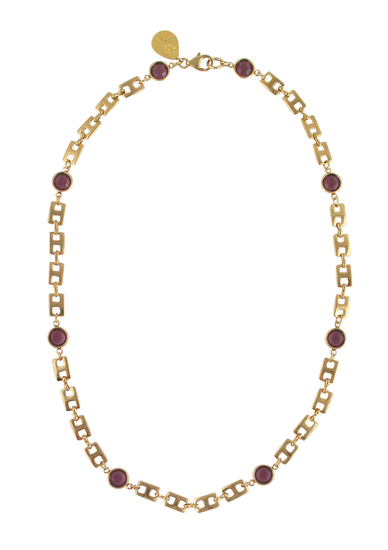 Amethyst Hydroquartz Gold Chain Necklace