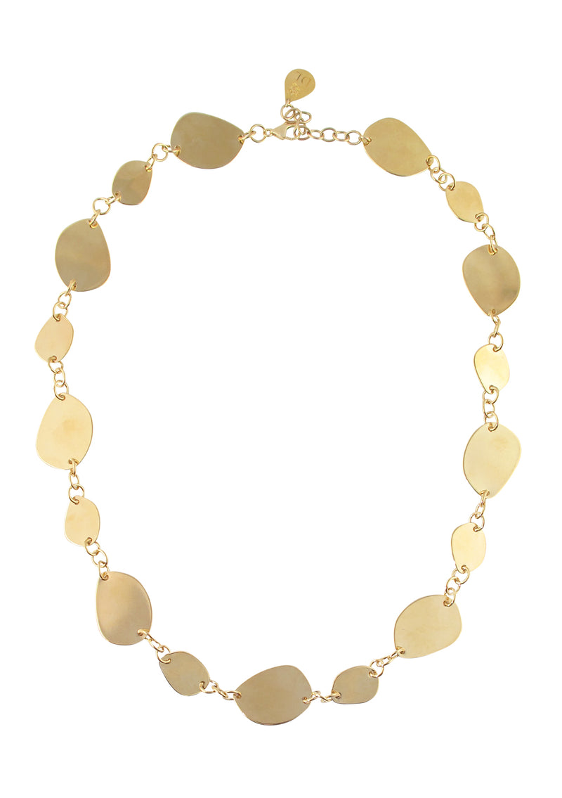 Flat Gold Leaf Chain Necklace