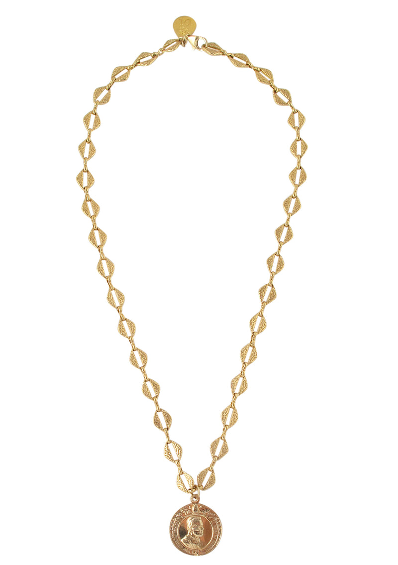 Gold Coin Textured Chain Necklace