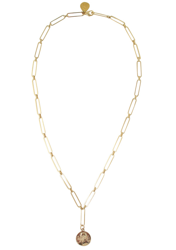 Gold Coin Thin Link Chain Necklace