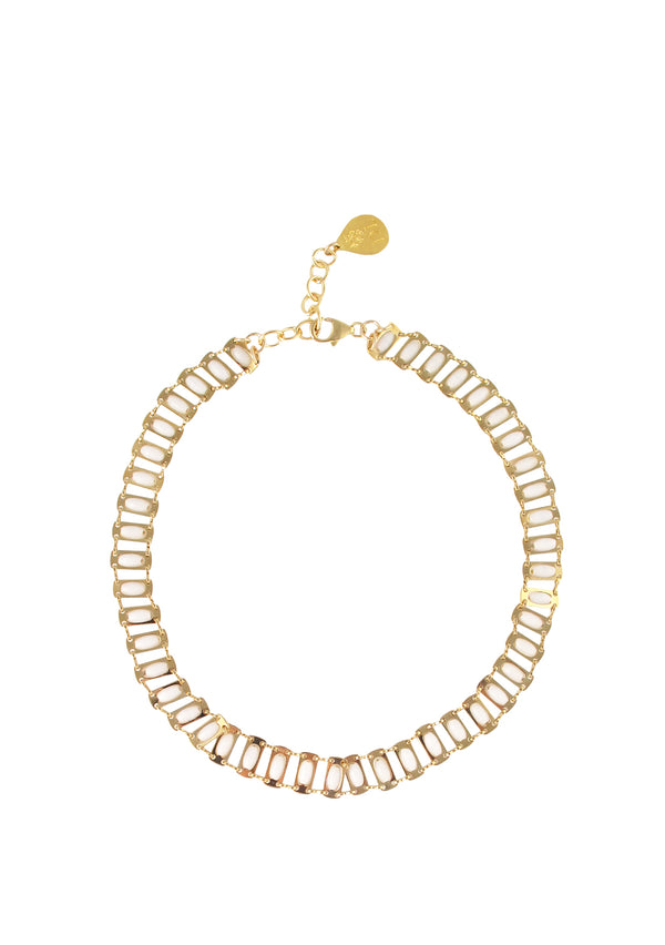 Gold and White Chain Necklace