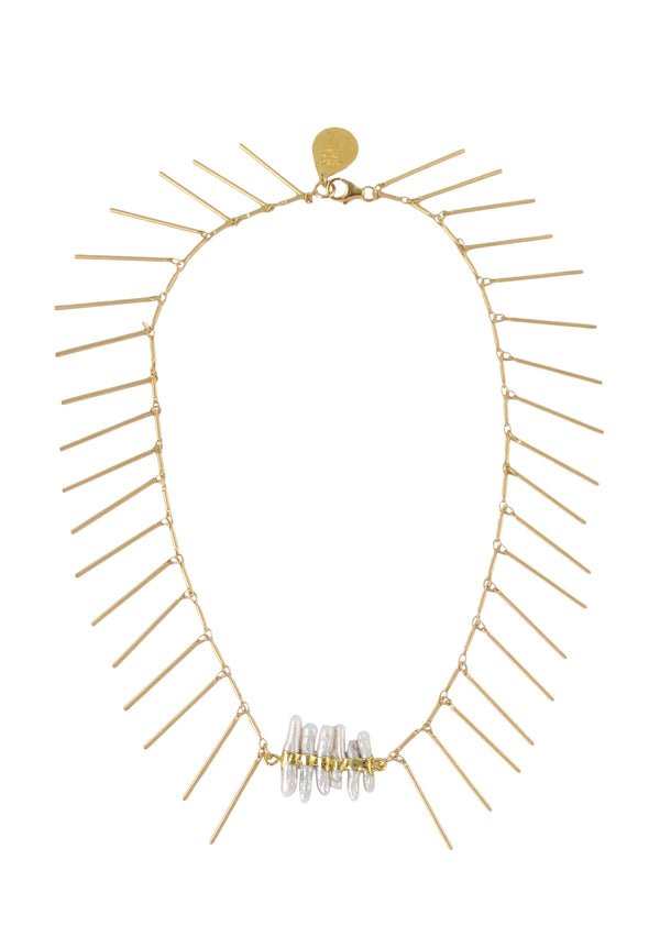 Gold Fringe Freshwater Pearl Accent Necklace