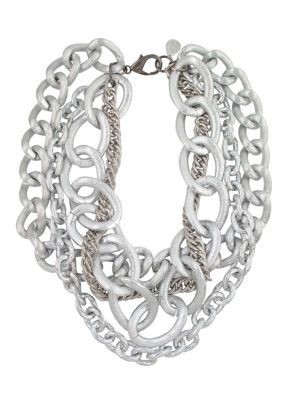 Silver Toned Multi Chain Necklace