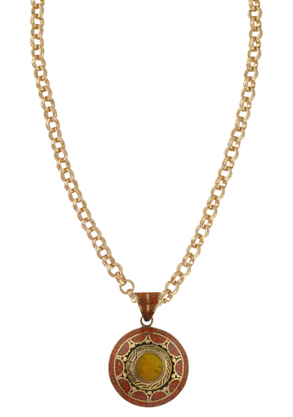 Amber and Coral Ethnic Medallion Necklace