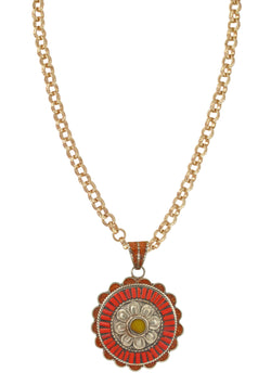 Yellow Jade and Coral Ethnic Medallion Necklace