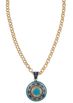 Turquoise and Lapis Ethnic Medallion Necklace