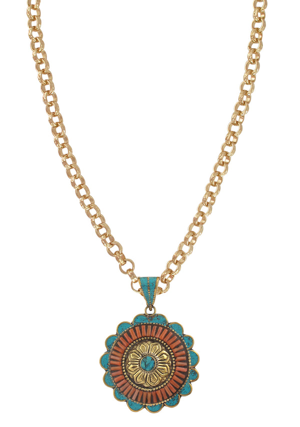 Turquoise and Coral Ethnic Medallion Necklace