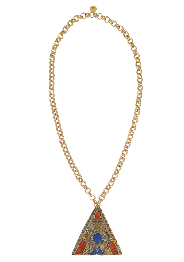 Lapis and Coral Ethnic Pendant Necklace