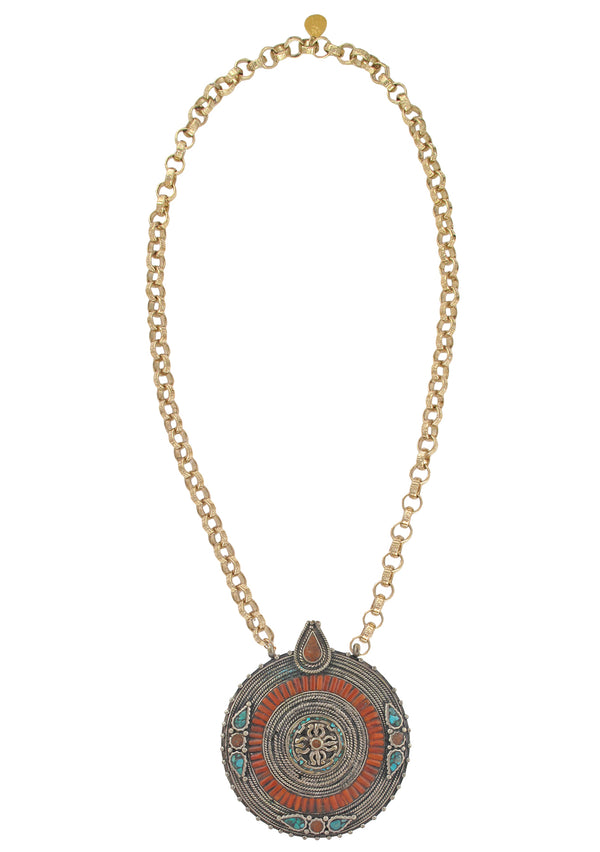 Antique Turquoise and Coral Ethnic Medallion Necklace