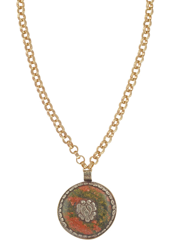 Jasper White Brass Ethnic Medallion Necklace